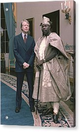 Jimmy Carter With Nigerian Ruler Acrylic Print by Everett