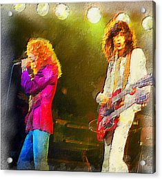 Jimmy Page And Robert Plant Acrylic Print by Galeria Zullian  Trompiz