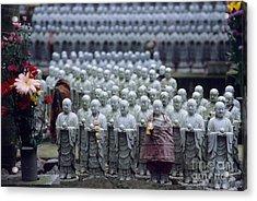 Jizo Statues At Hase-dera Temple Acrylic Print by Ei Katsumata