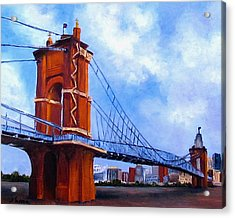 Acrylic Print featuring the painting John A. Roebling Bridge by Suzzanna Frank
