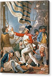 John Paul Jones Shooting A Sailor Who Had Attempted To Strike His Colours In An Engagement Acrylic Print by John Collet