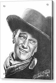 Acrylic Print featuring the drawing John Wayne   Dreamer by Marianne NANA Betts