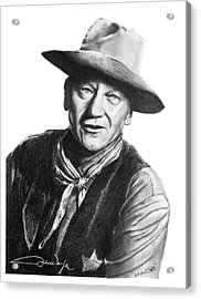 Acrylic Print featuring the drawing John Wayne  Sheriff by Marianne NANA Betts