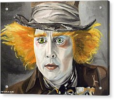 Johnny Depp - The Mad Hatter Acrylic Print by Ina Schulz