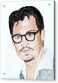 Acrylic Print featuring the painting Johnny Depp 7 by Audrey Pollitt