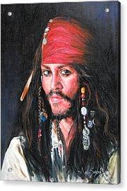 Johnny Depp Acrylic Print by Anju Saran