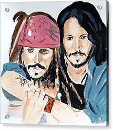 Johnny Depp X 2 Acrylic Print by Audrey Pollitt