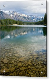 Johnson Lake Rocks Acrylic Print by Adam Pender