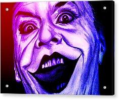 Joker Neon Acrylic Print by Michael Mestas