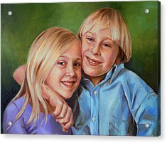 Acrylic Print featuring the painting Jonathan And Jessica by Nancy Tilles