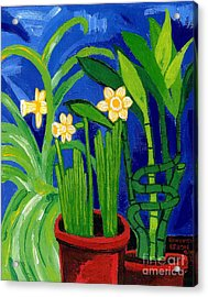 Jonquils And Bamboo Plant Acrylic Print by Genevieve Esson