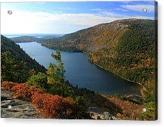 Jordan Pond In Autumn From North Bubble Acadia National Park Acrylic Print by John Burk