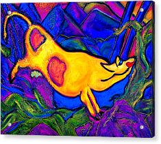 Joyful Yellow Cow Acrylic Print