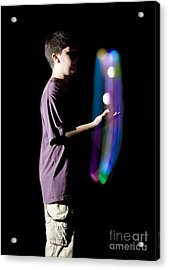 Juggling Light-up Balls Acrylic Print by Ted Kinsman