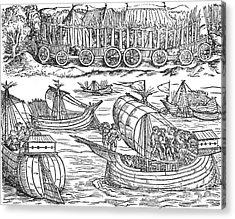 Julius Caesar Sailing The Thames 54 Bc Acrylic Print by Photo Researchers