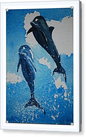Acrylic Print featuring the painting Jump For Joy.......miniature by Lynn Hughes