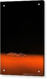 Junk Yard On Mars Acrylic Print by James Mcinnes