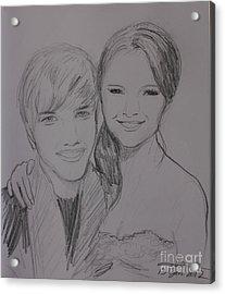 Justin And Selena Acrylic Print by Amanda Li