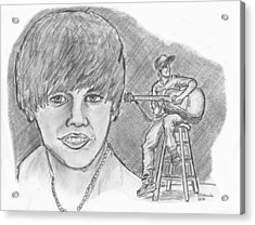 Acrylic Print featuring the drawing Justin Bieber- Bieber Fever by Chris  DelVecchio