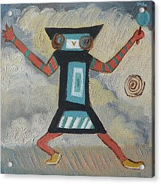 K Is For Kachina Detail From Childhood Quilt Painting Acrylic Print by Dawn Senior-Trask