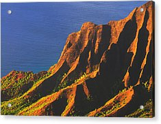 Kalalau Valley Sunset In Kauai Acrylic Print by Hegde Photos