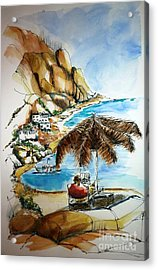 Acrylic Print featuring the painting Kalymnos 2 by Therese Alcorn