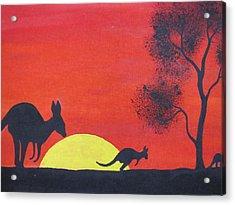 Kangaroo Sunset  Acrylic Print by Courtney Adams