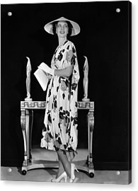 Kay Francis Modeling Floral-print Crepe Acrylic Print by Everett