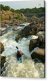 Kayaker Running Waterfalls At Great Acrylic Print by Skip Brown