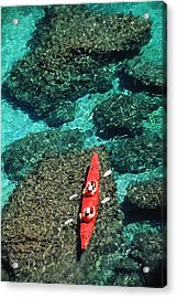 Kayakers In Clear Blue Water Acrylic Print by Ralph Lee Hopkins