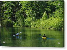 Kayakers Paddle In The Headwaters Acrylic Print by Raymond Gehman