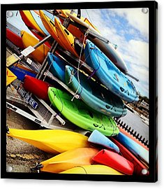 Kayaks For Rent In Rockport Acrylic Print by Matthew Green