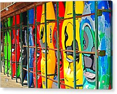 Kayaks In A Cage Acrylic Print by Susan Leggett