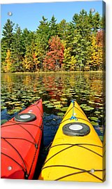Acrylic Print featuring the photograph Kayaks In The Fall by Rick Frost