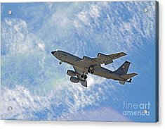 Kc-135 With Clouds Acrylic Print by Kenny Bosak