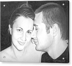 Acrylic Print featuring the drawing Kelly And Chris Lanktree by Ana Tirolese