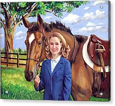 Acrylic Print featuring the painting Kendall And Her Horse by Nancy Tilles