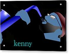 Kenny Garrett Blue Acrylic Print by Victor Bailey