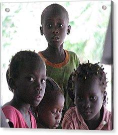 #kids #gambia #compound #sad #expression Acrylic Print
