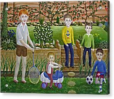 Kids In The Garden Acrylic Print by Ronald Haber