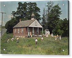 Kids Play Baseball During Recess Acrylic Print by J. Baylor Roberts