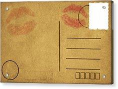 Kiss Lips On Postcard Acrylic Print by Setsiri Silapasuwanchai