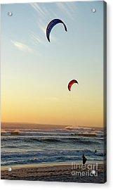 Kite Surfers On Beach At Sunset Acrylic Print by Sami Sarkis