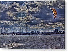 Kite Surfing At St Kilda Beach Acrylic Print by Douglas Barnard