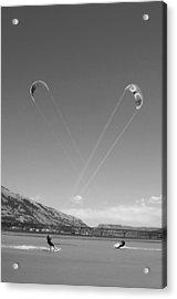 Kiteboarding Symmetry Acrylic Print by Skip Brown