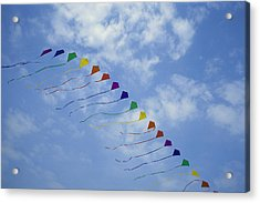Kites Fly In A Rainbow Of Colors Acrylic Print by Stephen Alvarez