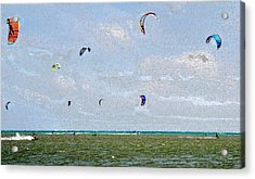 Kites Over The Bay Acrylic Print by David Lee Thompson