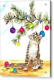 Kitten's First Christmas Acrylic Print