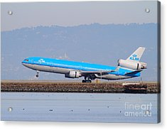 Klm Royal Dutch Airlines Jet Airplane At San Francisco International Airport Sfo . 7d12157 Acrylic Print by Wingsdomain Art and Photography