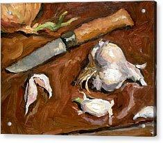 Knife And Garlic Acrylic Print by Thor Wickstrom